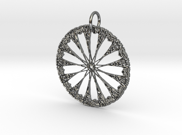 Celtic Circle Star Pendant in Fine Detail Polished Silver: Medium