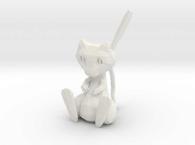 Low Poly Mew in White Natural Versatile Plastic