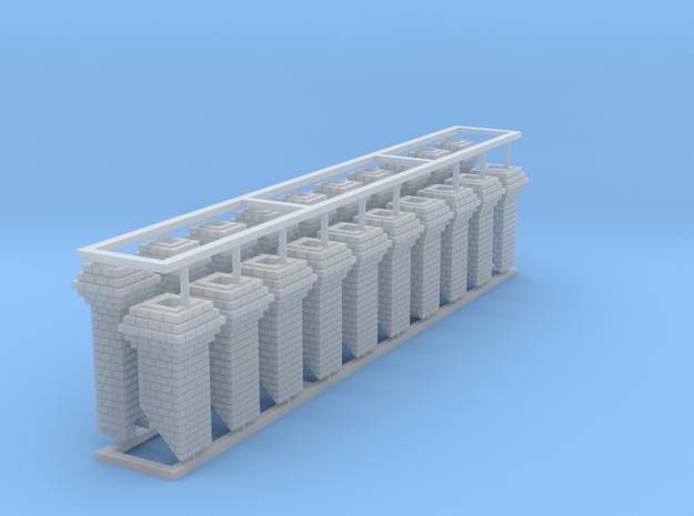 HO Fancy Brick Chimneys Block of 20 in Smooth Fine Detail Plastic