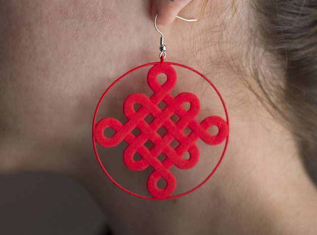 Chinese Knot Earrings in Red Strong & Flexible Polished
