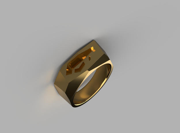 Rocky Ring in Natural Brass