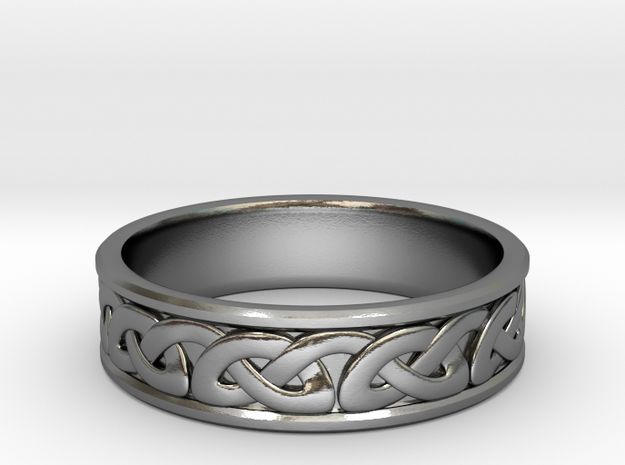 Single strand Celtic Knot Ring~size US 8.25 in Polished Silver