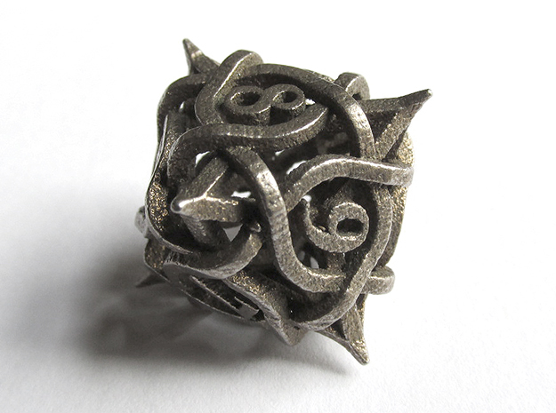 Thorn d8 in Polished Bronzed Silver Steel