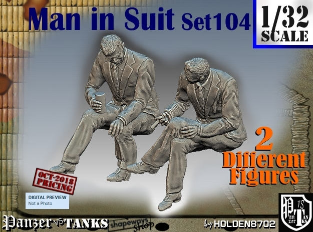 1-32 Man in Suit Set104 in White Natural Versatile Plastic
