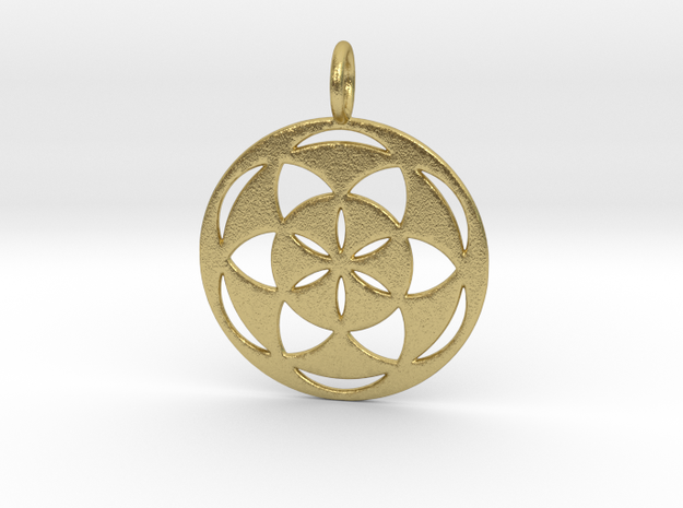 Seed of Life filled 29mm in Natural Brass