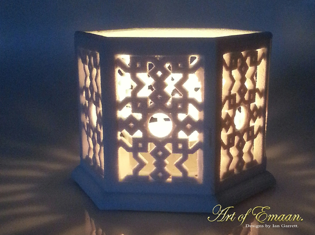 Islamic Geometric Candle Lantern. 3d printed Sandstone print illuminated with candle.