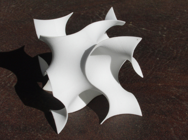 Gyroid unit cell 3d printed gyroid single cell in white strong and flexible plastic