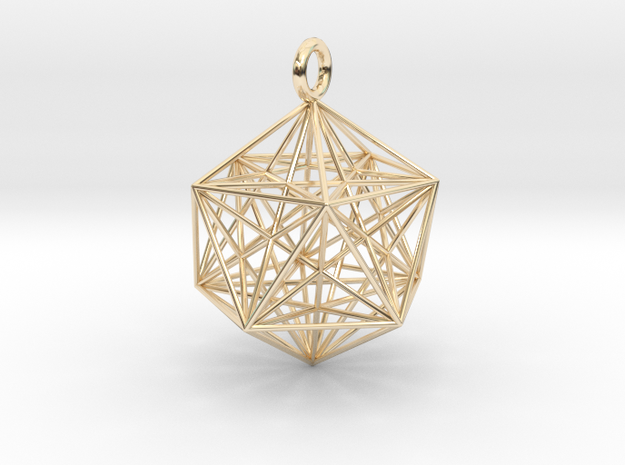 Icosahedron with inner Stellated Dodecahedron 30mm in 14k Gold Plated Brass