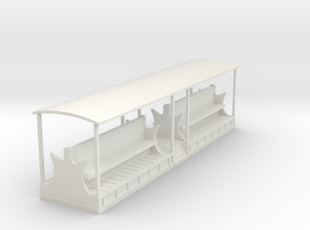 Tramway style coach (full open) in White Natural Versatile Plastic