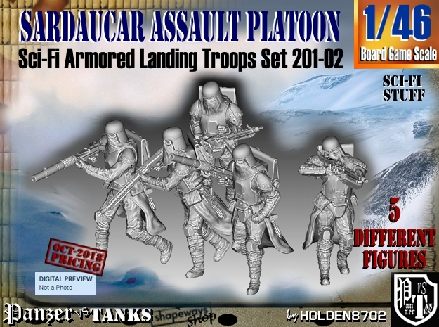 1/46 Sci-Fi Sardaucar Platoon Set 201-02 in Smooth Fine Detail Plastic