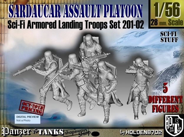 1/56 Sci-Fi Sardaucar Platoon Set 201-02 in Smoothest Fine Detail Plastic