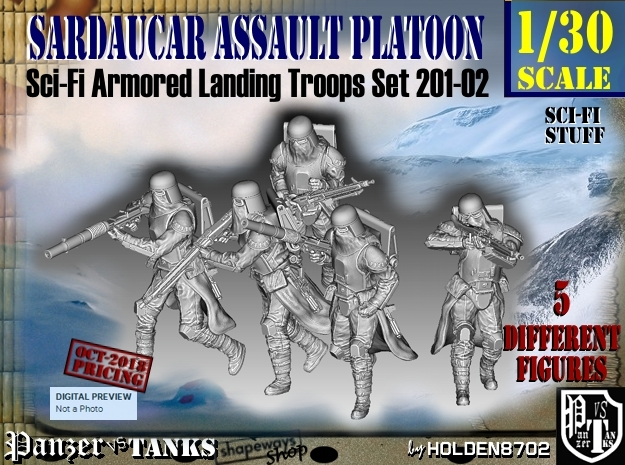 1/30 Sci-Fi Sardaucar Platoon Set 201-02 in Smooth Fine Detail Plastic