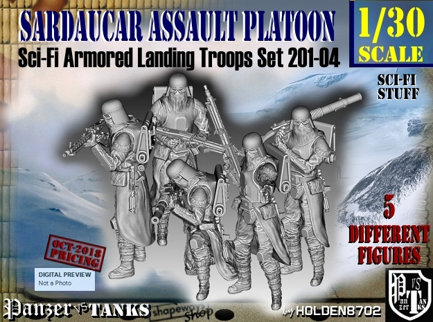 1/30 Sci-Fi Sardaucar Platoon Set 201-04 in Smooth Fine Detail Plastic