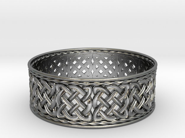 Interwoven Celtic Quad Knot Ring in Polished Silver: 8.25 / 57.125