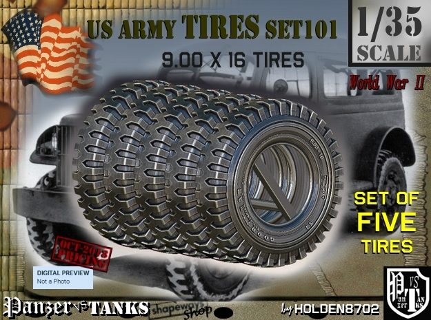 1/35 900x16 tire Set101 in Smooth Fine Detail Plastic
