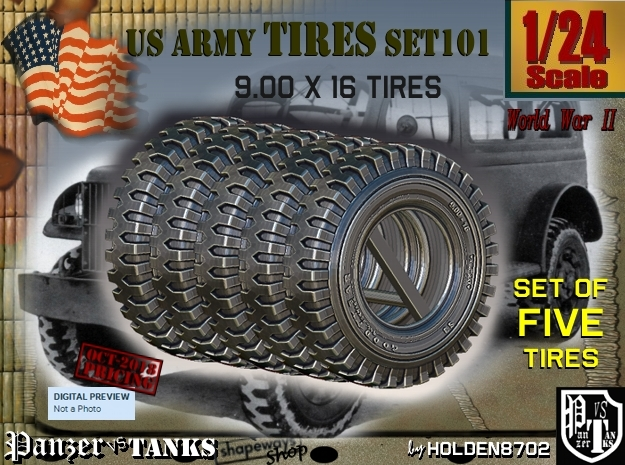 1/24 900x16 tire Set101 in Smooth Fine Detail Plastic