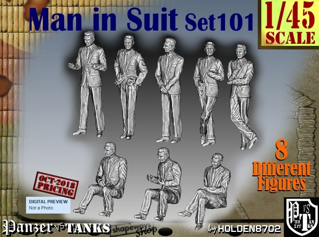 1/45 Man in Suit Set101 in Smooth Fine Detail Plastic