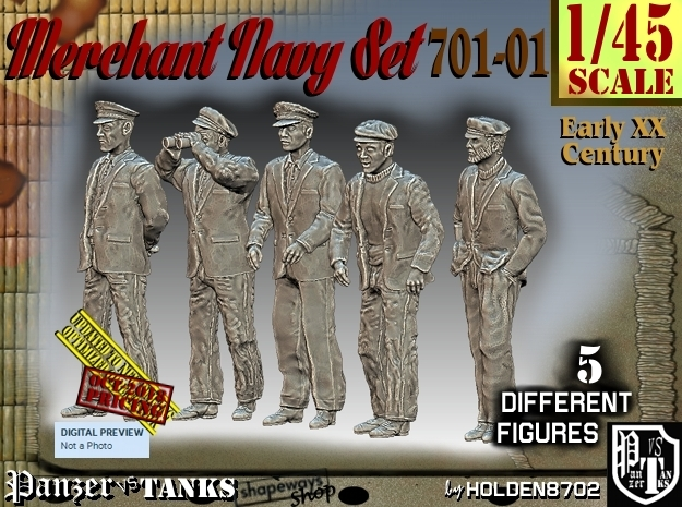 1/45 Merchant Navy Set 701-01 in Smooth Fine Detail Plastic