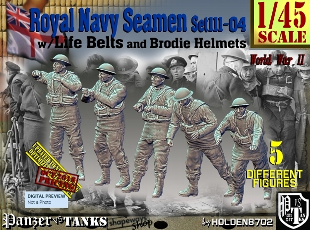 1/45 Royal Navy Seamen Set111-04 in Smooth Fine Detail Plastic
