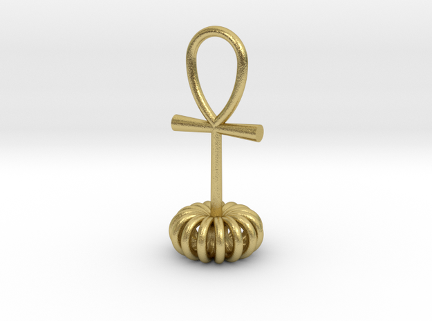 Torus energy pendant in Natural Brass
