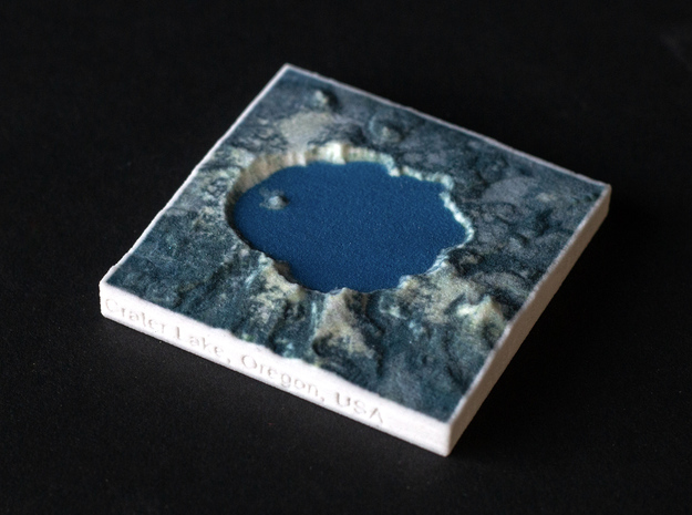 Crater Lake, Oregon, USA, 1:250000 Explorer in Natural Full Color Sandstone
