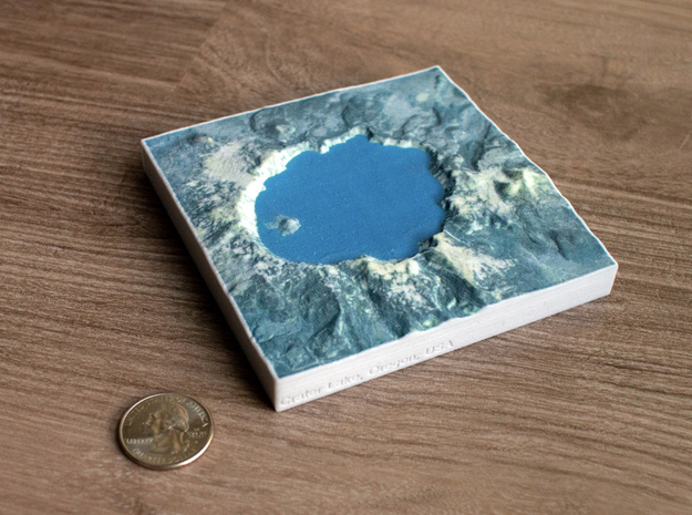 Crater Lake, Oregon, USA, 1:150000 Explorer in Natural Full Color Sandstone