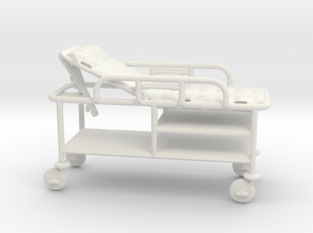 Gurney-tilted-rails-up 1:43 scale in White Natural Versatile Plastic