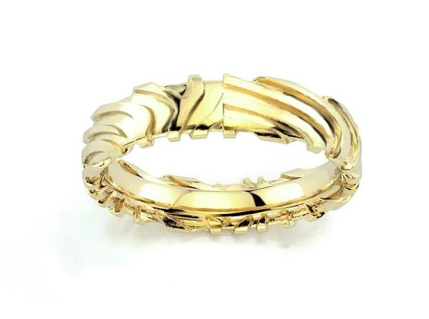 Wedding Ring Zebra 5 mm in 18k Gold Plated Brass: 8.5 / 58