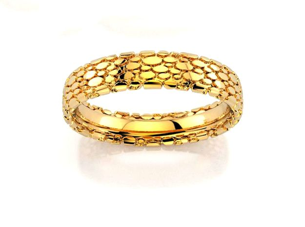 Wedding Ring Snake 5 mm in 18k Gold Plated Brass: 8.5 / 58