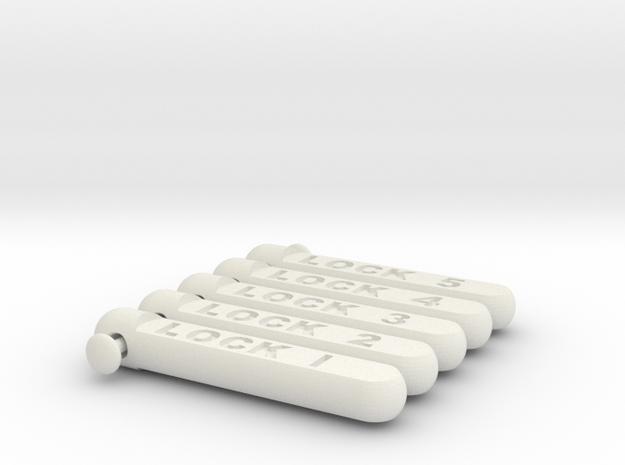 keychain tag cylindricalish short set 1 in White Natural Versatile Plastic