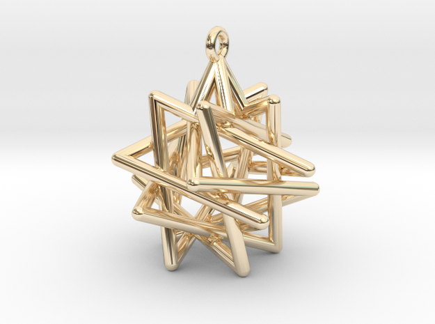 Tetrahedron Compound Pendant in 14k Gold Plated Brass