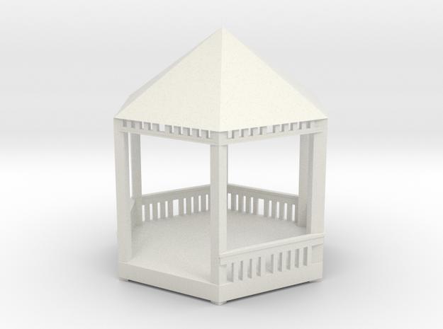 HO Scale Modern Gazebo in White Natural Versatile Plastic: 1:87 - HO