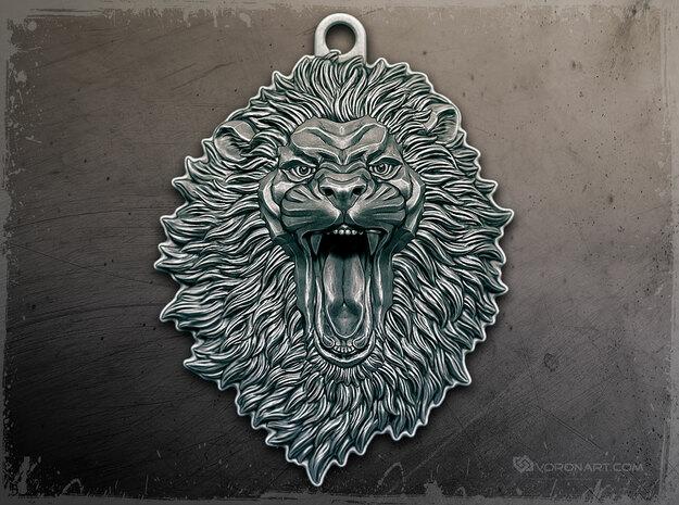 Roaring Lion face relief. Pendant 5cm in Antique Silver