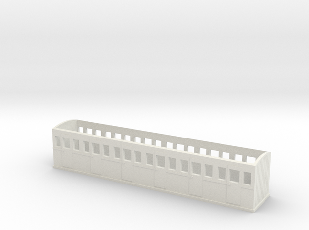 OO9 L&B Style Improved Open Coach in White Natural Versatile Plastic