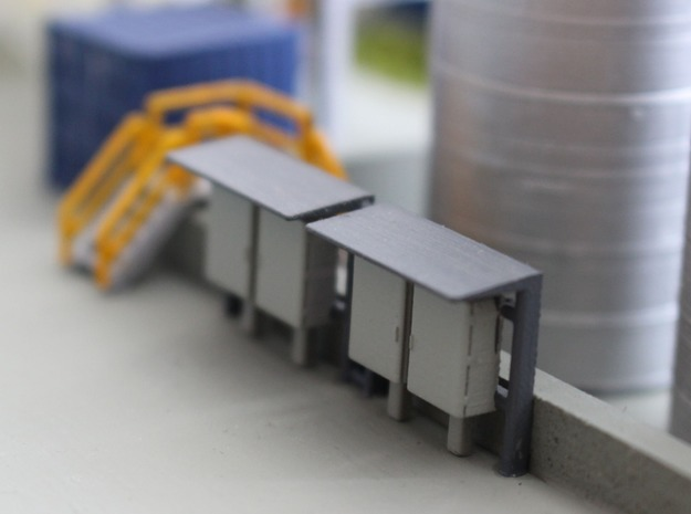N Scale 2 Industrial Relay Cabinets in Smooth Fine Detail Plastic