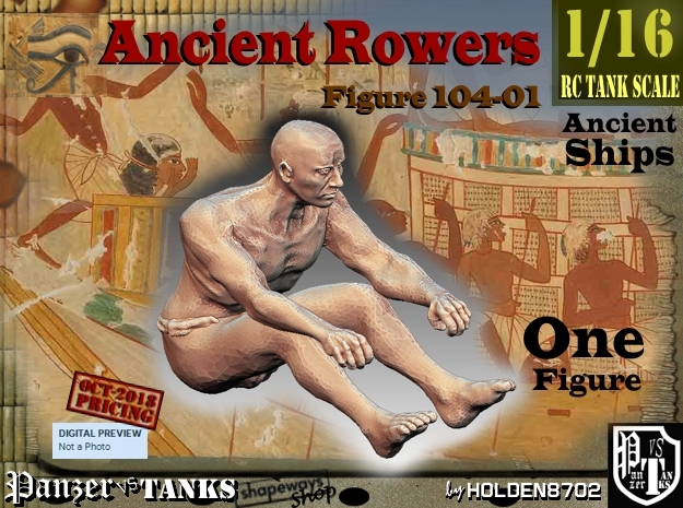 1/16 Ancient Rower fig104-01 in White Natural Versatile Plastic