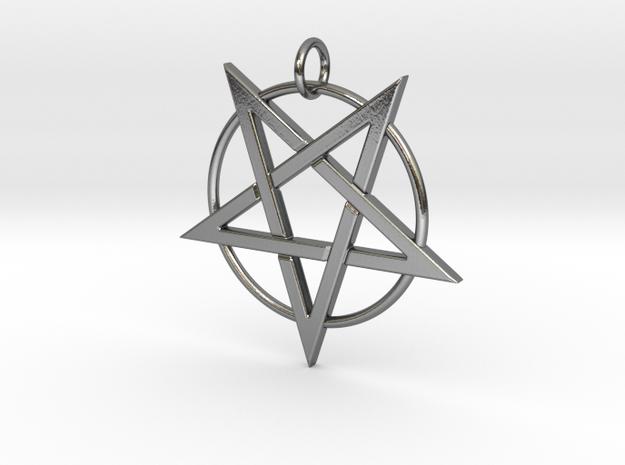 last pentagram2 in Polished Silver