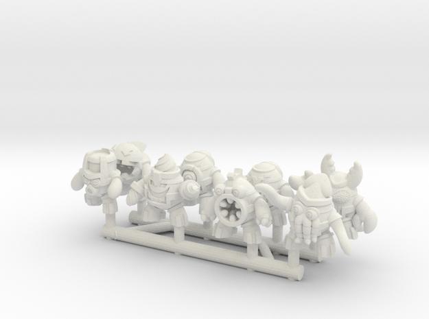 """MechEggs: 1/2"""" Set of 8 in White Natural Versatile Plastic"""