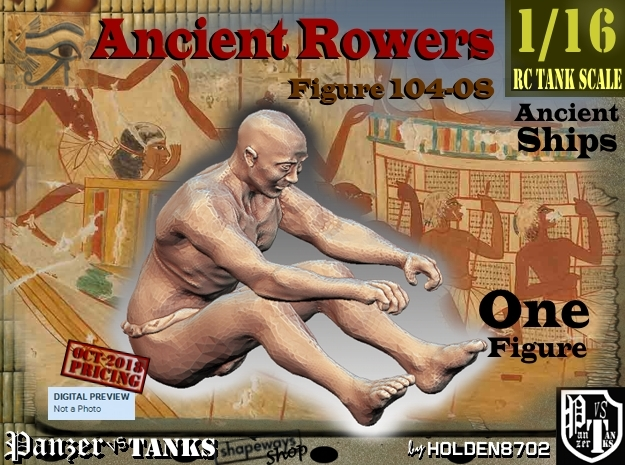 1/16 Ancient Rower fig104-08 in White Natural Versatile Plastic