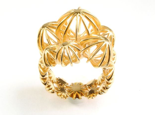Sea Urchin Ring in 18k Gold Plated Brass: 6.25 / 52.125
