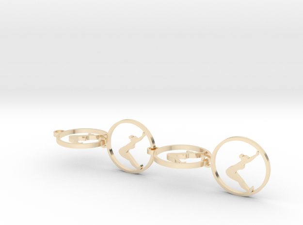 downwardfacingdog (8) small earring in 14k Gold Plated Brass