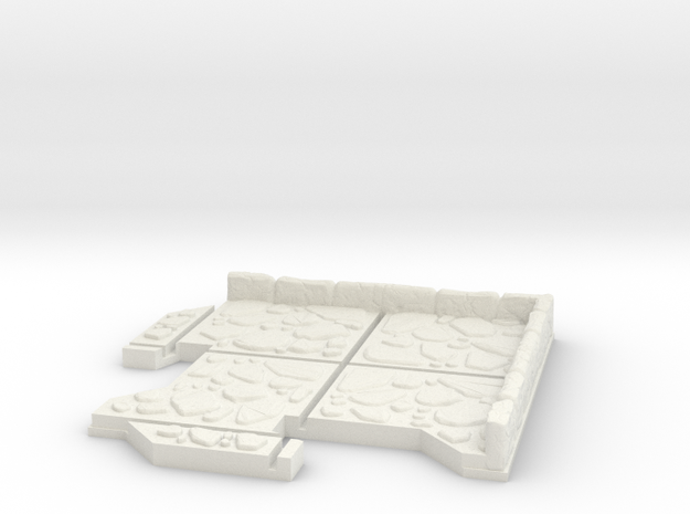 Small Corner Dungeon Tile in White Natural Versatile Plastic