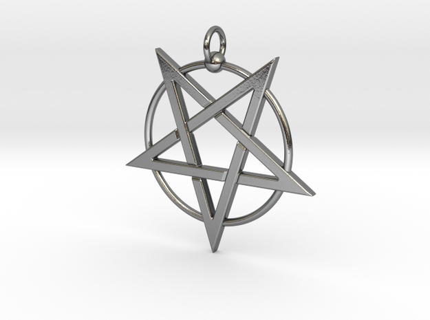 last pentagram3updatedver2 in Polished Silver