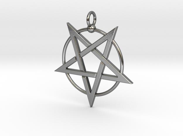 last pentagram3updatedver6 in Polished Silver