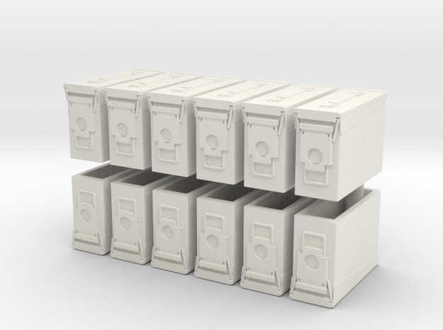1:18 Scale Ammo Can (M19A1 30mm) in White Natural Versatile Plastic