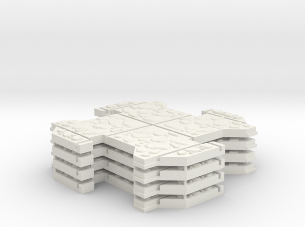 Small Multi 4 Pack - Dungeon Tiles in White Natural Versatile Plastic