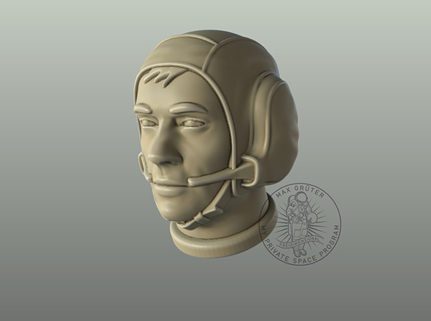 "Astronaut Head with ""Snoopy Cap"" /  1:6 in White Natural Versatile Plastic"