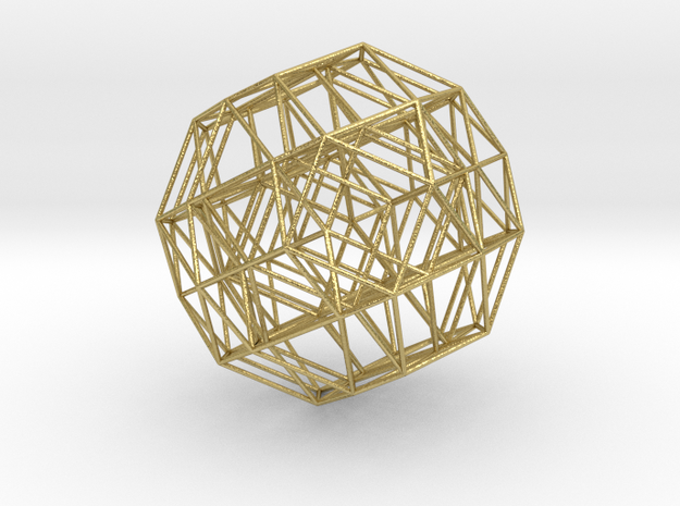 Rectified 24-cell, ortho projection F4 Petrie in Natural Brass
