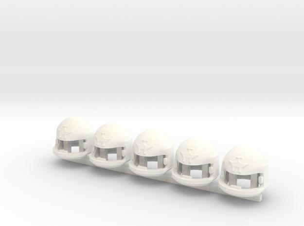 5 x SciFi Type 2200 helmet in White Processed Versatile Plastic