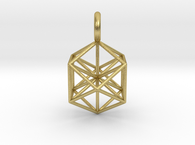VE pendant with axis in Natural Brass
